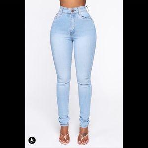 Fashion Nova Jeans - Marilyn High Waisted Skinny Jeans - Light Wash 1X